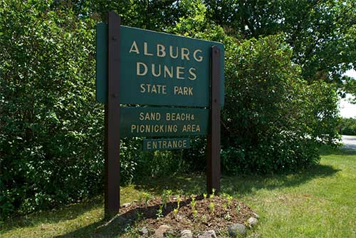 The entrance to Alburgh Dunes State Park