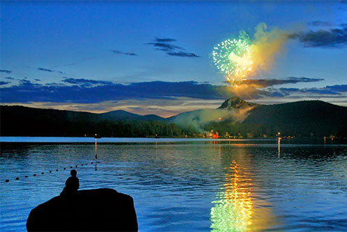 Fireworks light up the sky at Boulder Beach State Park (photo credit: Collin O'Neil)