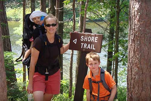 The Shore Trail goes all the way around Spectacle Pond