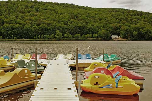 Pedal boats for rent at Camp Plymouth State Park
