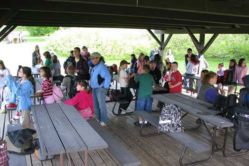 School groups at the picnic pavilion