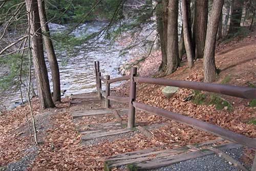 Steps leading to Salmon Hole at Jamaica State Park