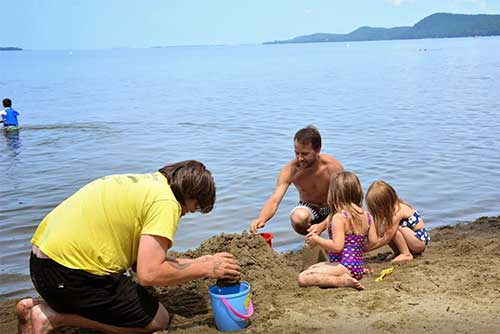 Building sand castles at Sand Bar State Park (photo credit: Julia Maille)