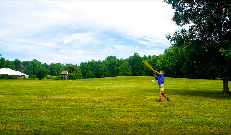The expansive lawns are great for a variety of activities.. including wiffle ball!
