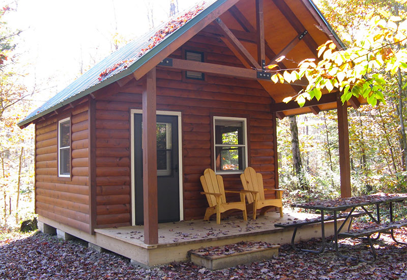 One of the 4 cabins available to rent at Woodford
